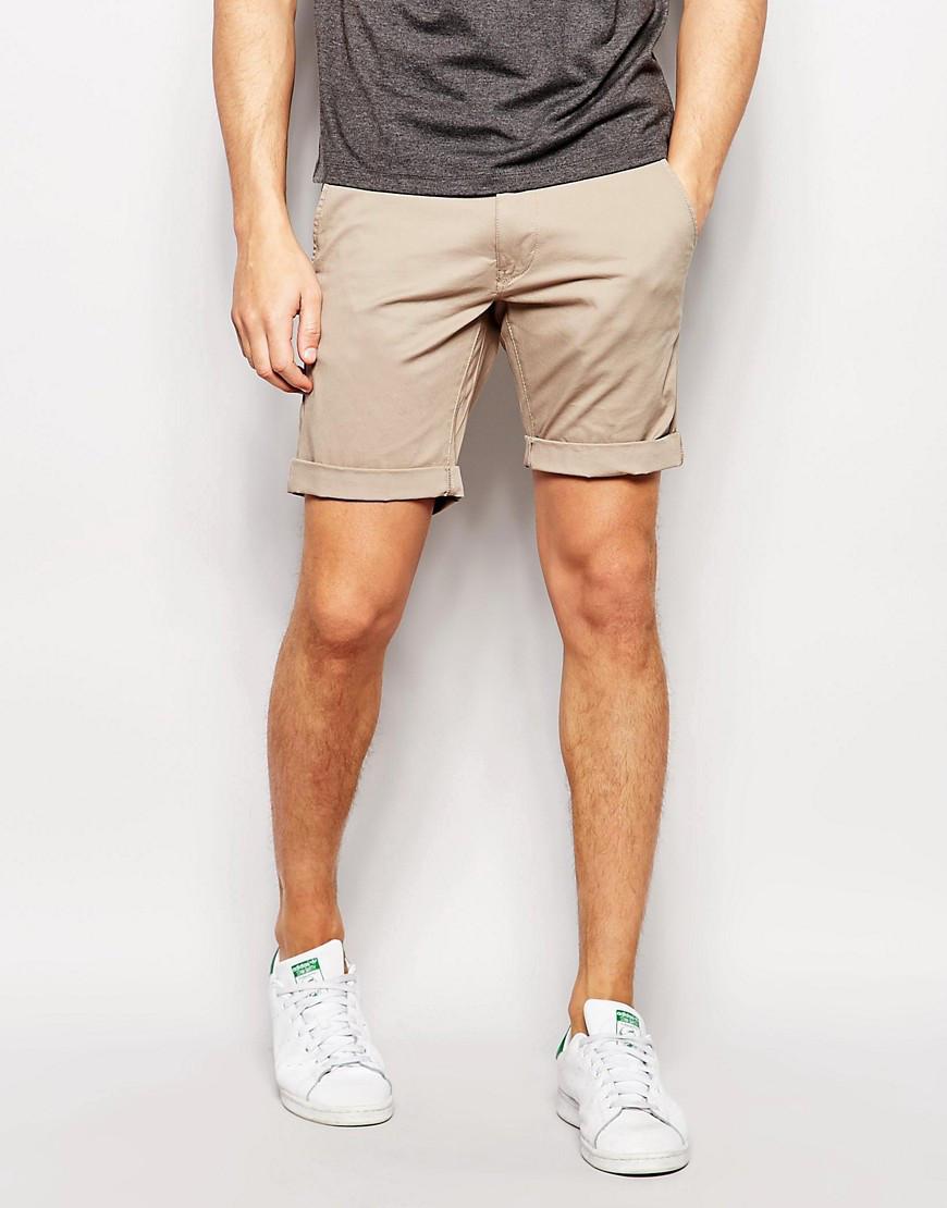 Молодежные мужские шорты чинос бежевые