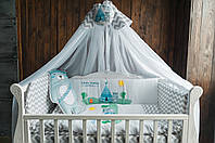 """Комплект в кроватку """"Little Indian"""" серый зигзаг"""