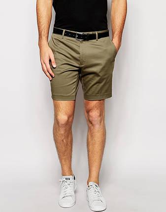 Мужские модные шорты чинос олива, фото 2
