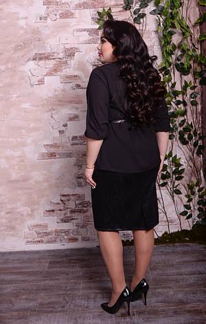 Черная блузка больших размеров Парадиз, фото 2