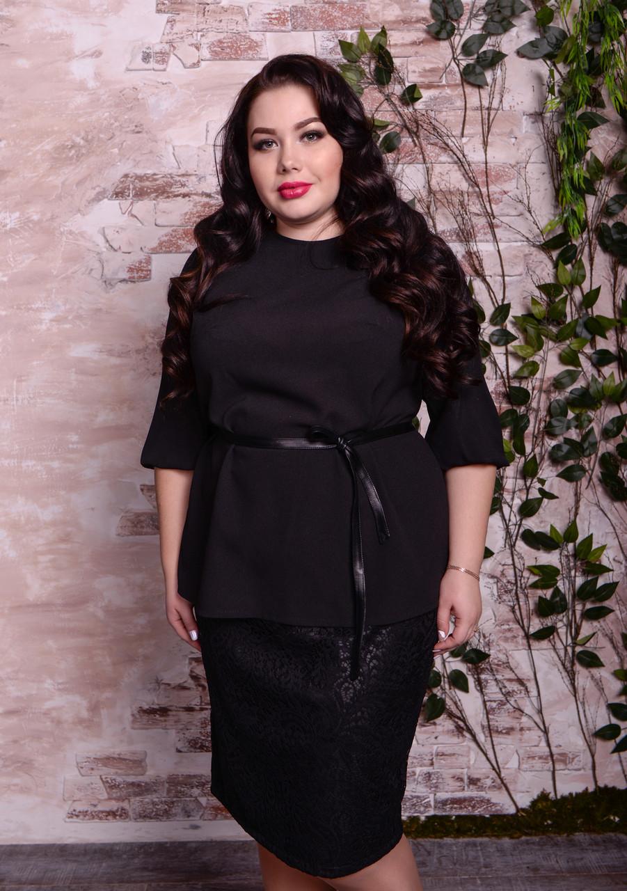 Черная блузка больших размеров Парадиз
