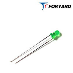 Світлодіод Зелений 3 мм. FYL-3014 GD 570nm, 15mcd (круглий, матовий), 60 ° FORYARD
