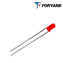 Світлодіод Червоний 3 мм. FYL-3014 HD 700nm, 3mcd (круглий, матовий), 60 ° FORYARD