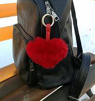 Брелок на сумку сердце красный ( брелок из меха )