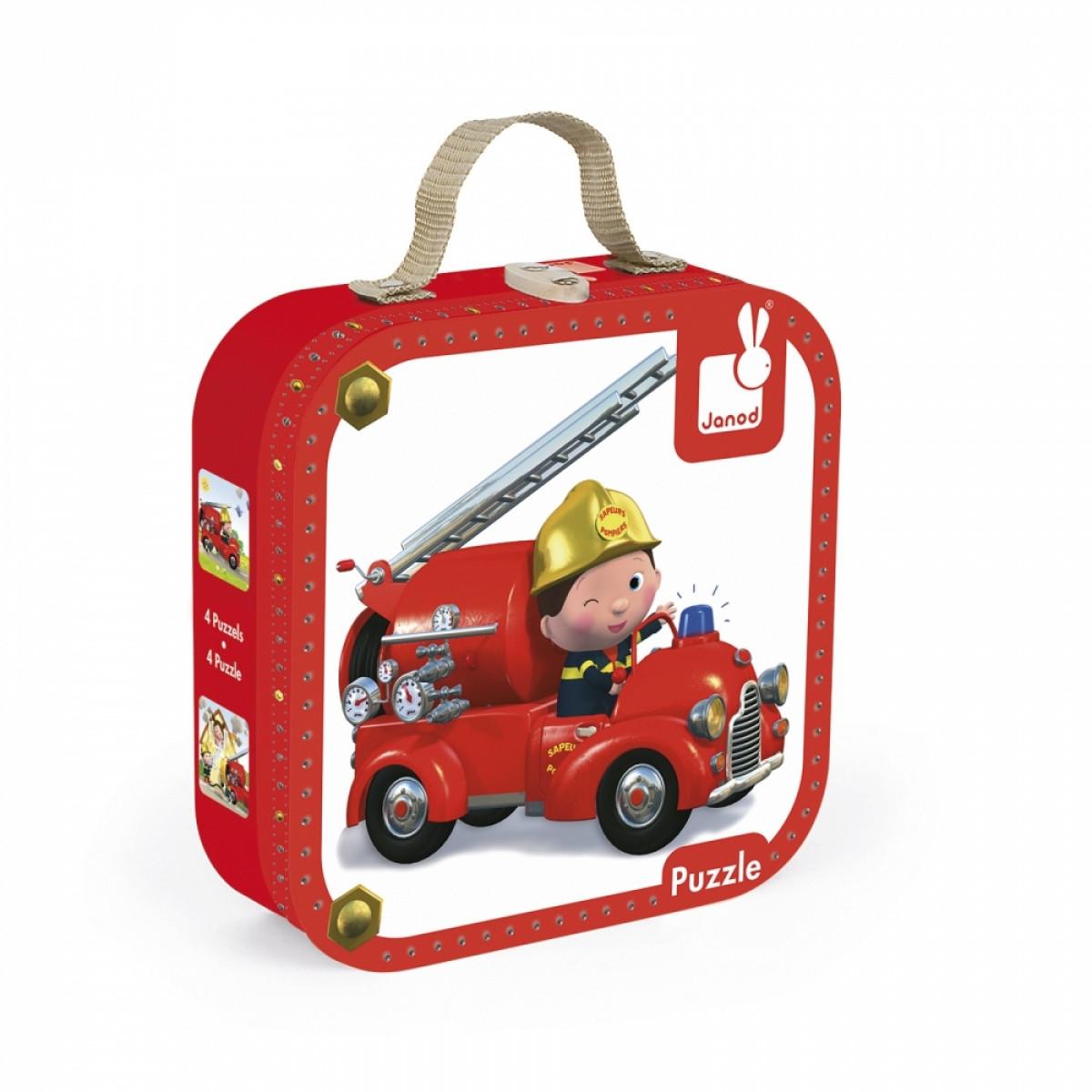 Janod - Набор из 4 пазлов Лео и его пожарная машина