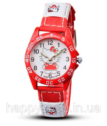 Детские наручные часы для девочки Hello Kitty (красные)