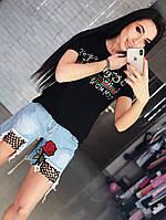 Женские джинсовые шорты с нашивкой и сеткой (КМ-4-0418)