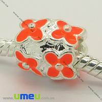 Бусина PANDORA мет. Цветы оранжевые, 11х10 мм, Светлое серебро, 1 шт. (BUS-006954)