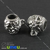 Основа для кулона Бейл пластиковый, 11х11 мм, Серебро, 1 шт (BUS-000931)