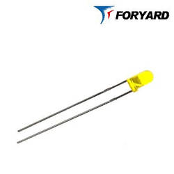 Світлодіод Жовтий 3 мм. FYL-3014 YD 585nm, 15mcd (круглий, матовий), 60 ° FORYARD