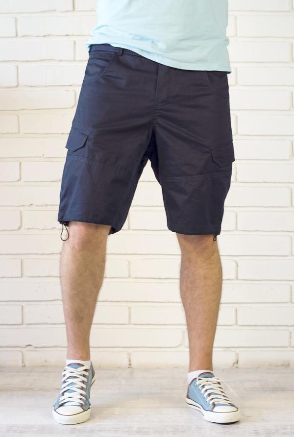 Мужские шорты с карманами карго и утяжкой нави
