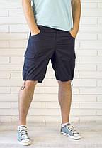 Мужские шорты с карманами карго и утяжкой нави, фото 3