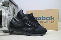 Мужские кроссовки Reebok Classik черные замшевые 10916
