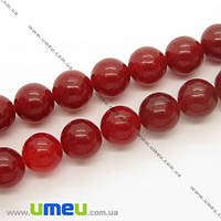 Бусина натуральный камень Мрамор красный, 10 мм, Круглая, 1 шт. (BUS-006424)