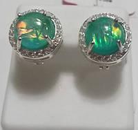 Серьги серебряные Виола с зеленым опалом, фото 1