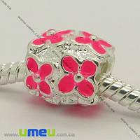 Бусина PANDORA мет. Цветы розовые, 11х10 мм, Светлое серебро, 1 шт. (BUS-006948)