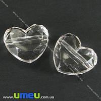 Бусина акриловая Сердце, 16х18 мм, Прозрачная, 1 шт. (BUS-000820)