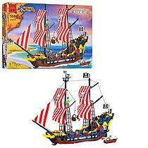 Конструктор Пираты на 870 деталей - большой пиратский корабль, фигурки, лодка,  Brick 308 / 298783