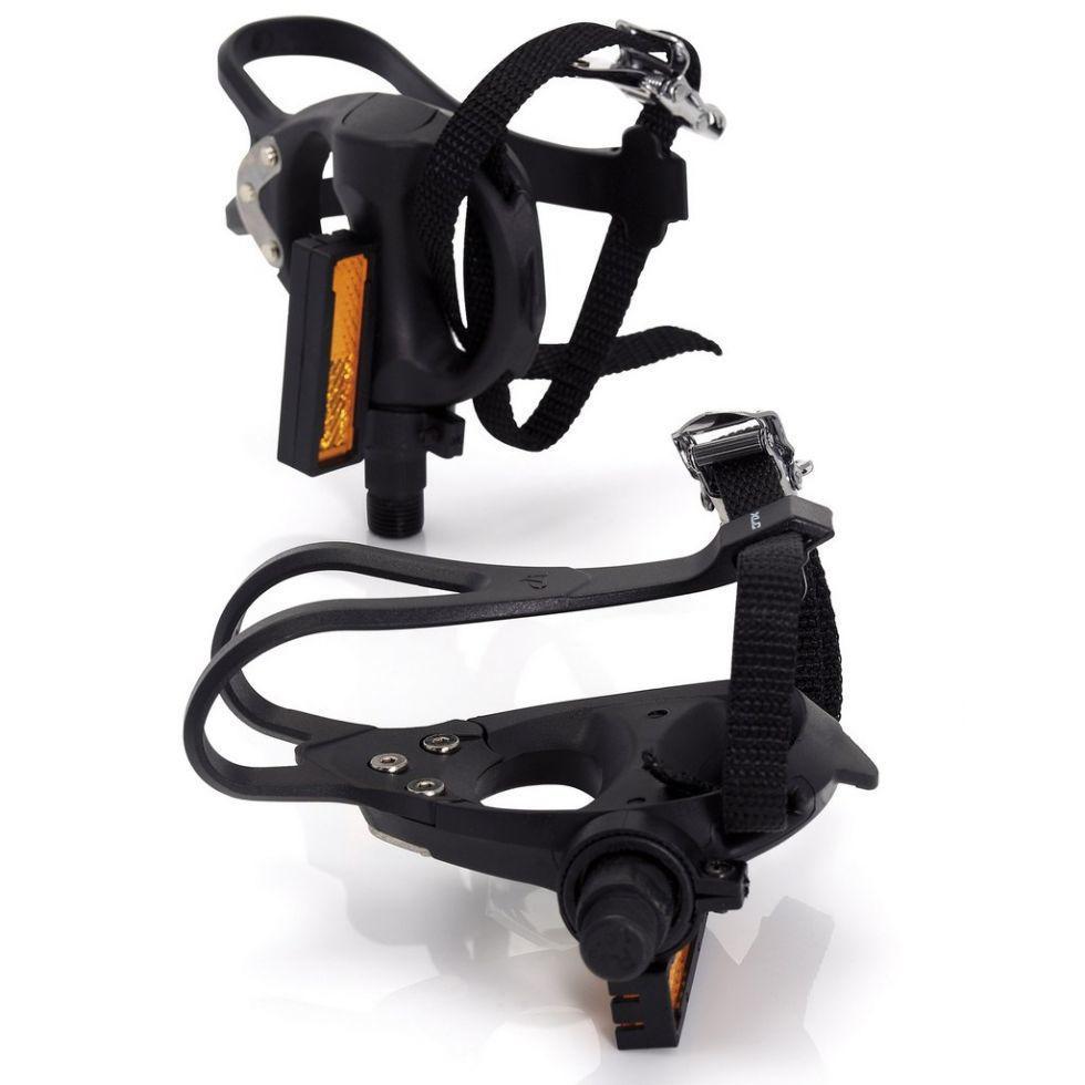 Педали контактные Road PD-R01Plastic (с ремешками и тулипсами),