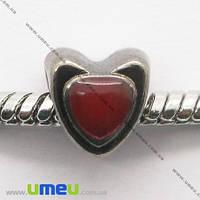 Бусина PANDORA мет, Сердце красное 8х8 мм, Черная, 1 шт. (BUS-007411)