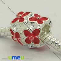 Бусина PANDORA мет. Цветы красные, 11х10 мм, Светлое серебро, 1 шт. (BUS-006946)