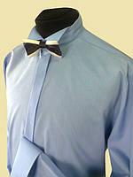 Мужские рубашки под галстук бабочка голубого цвета, фото 1