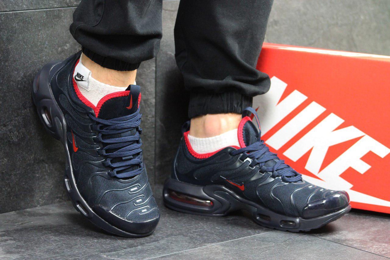 Кросівки чоловічі Nike air max TN,сітка,темно сині з червоним