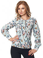 Стильная женская блузка с рисунком бабочки с длинным рукавом. Модель 420, размеры 44-50
