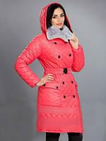 Зимнее женское пальто с капюшоном и съемным мехом, цвета в ассортименте, фото 1