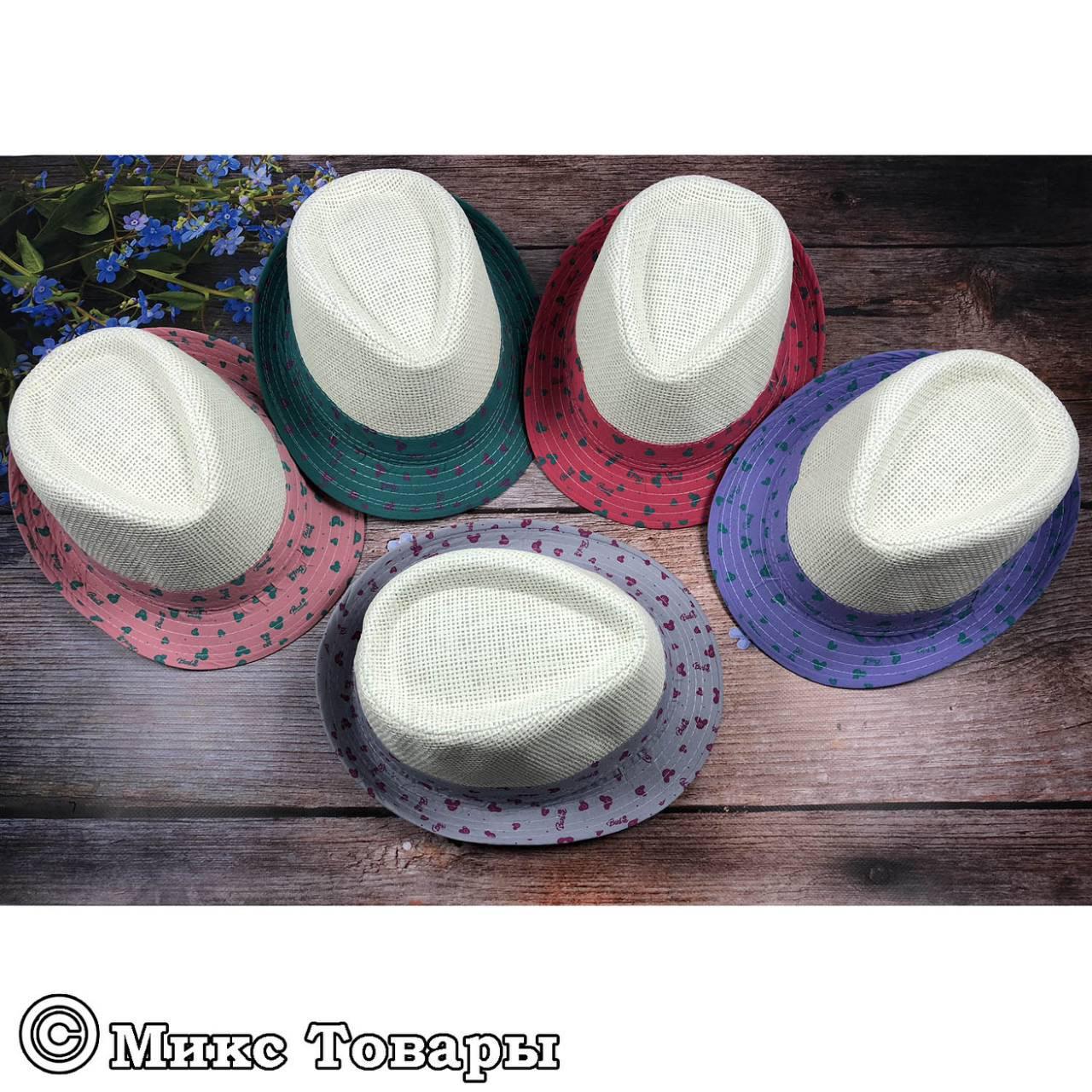Соломенная шляпа Челентанка для девочек (объём 54 см) (1219)