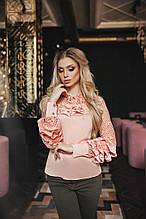 Женская рубашка, шёлк армани + люрексовая сетка, р-р 42; 44; 46; 48 (персиковый)