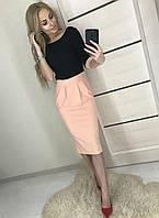 Платье женское 42-46р черный верх розовая юбка, фото 1