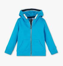 Однотонная синяя кофта на молнии с капюшоном для мальчика C&A Германия Размер 104, 110