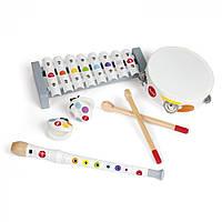 Набор музыкальных инструментов Janod серия Конфетти, J07600, ксилофон, флейта, бубен, кастаньеты