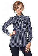 Стильная женская рубашка в полоску темно-синего цвета с длинным рукавом. Модель 421, размеры 42-52