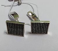 Серебряные запонки Имидж с черными цирконами, фото 1