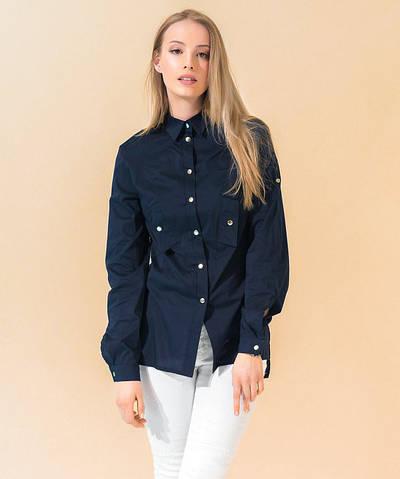 Стильная рубашка на кнопках темно-синего цвета. Модель 17763. Размеры 42-48