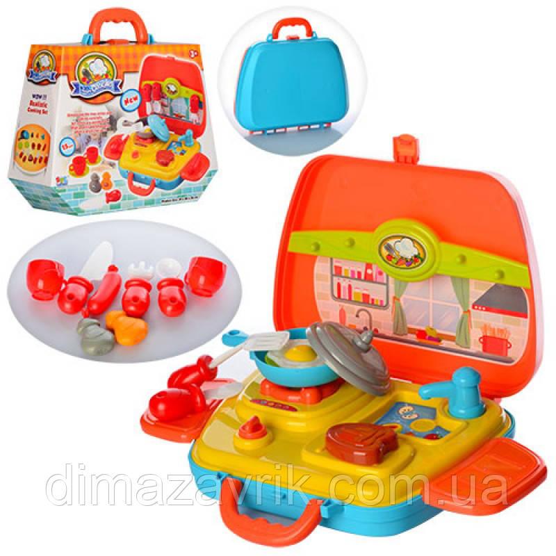 Посуда 16803 плита, продукты, 15 предметов,  в чемодане, в коробке 29-23-10,5 см