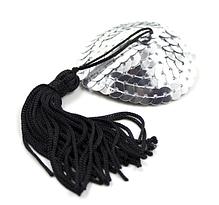 Стикини серебрянные с черными кисточками, фото 3
