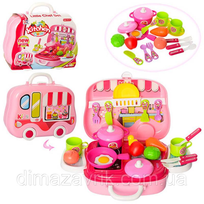Посуда 008-915A кастрюля, сковорода, кух. принадлежности,  продукты, 26 предметов, в чемодане 26-21-9 см