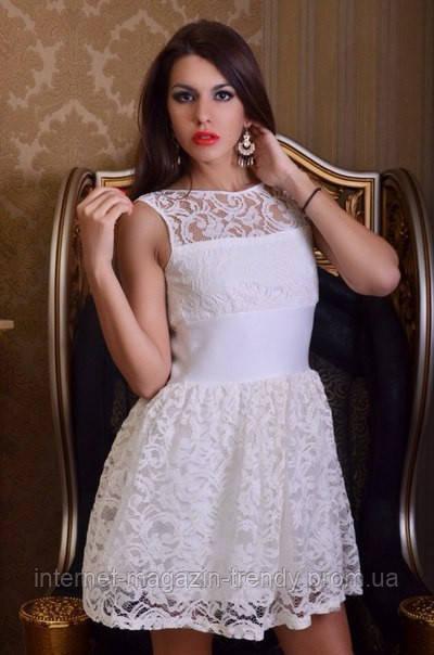 Платье мини из гипюра с пышной юбкой(3 цвета) 318