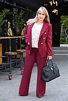 Женский модный костюм-двойка брюки и пиджак на подкладке Батал, фото 1