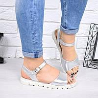 """Босоножки, туфли, сандали, сабо женские серебристые """"Aliterissa"""" НАТУРАЛЬНАЯ КОЖА, повседневная, летняя, обувь"""