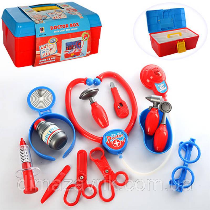 Доктор 661-210 14 предметов, стетоскоп - звук, свет, на бат-ке (таб), в чемодане, 32-16-13,5 см
