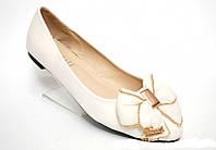Женские белые балетки с бантом туфли на низком ходу, фото 1