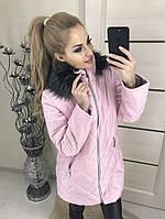 Женская длинная куртка с меховым капюшоном синтепон 200, БУТЫЛКА