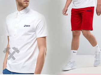 Мужской комплект поло + шорты Asics белого и красного цвета