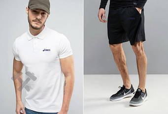Мужской комплект поло + шорты Asics белого и черного цвета