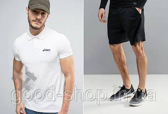 Мужской комплект поло/футболка и шорты Асикс (Asics), поло и шорты Asics,мужская тенниска, копия