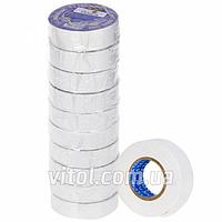 Изоляционная лента PVC STENSON (МН-0063), длина 10 м, белая, ПВХ, изолента, липкая лента, изоляционный материал, электроизоляционная лента
